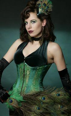 0dda0cf47f Emerald Green Brocade Satin Steel Underbust Corset  lt 3 Corset Costumes