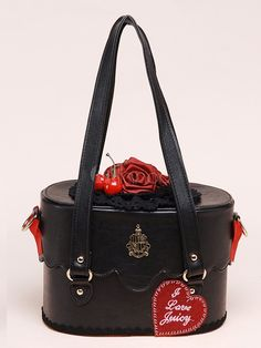 Black PU Leather Red Rose Embellished Sweet Lolita Bag  by Milanoo