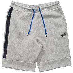NIKE TECH FLEECE 1MM SHORT DARK HEATHER GREY/MEDIUM GREY/GAME... (120 BAM) ❤ liked on Polyvore featuring activewear, nike, nike sportswear and nike activewear