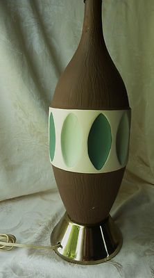 Fortune Lamp Co. 1959 Mid Century Ceramic Table Lamp Blue Green ...