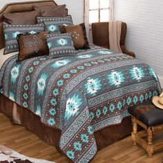 Western Bedding Sets, Western Bedrooms, Western Furniture, Furniture Decor, Southwest Bedroom, Quilt Sets Queen, Black Forest Decor, How To Clean Pillows, Leather Pillow