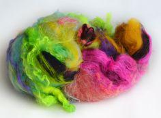 Hand carded merino wool and neon longwool locks art batt, Spinning Fiber - 222Handspun.com
