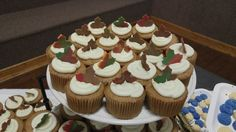 Spice cupcakes with candy clay fall leaves