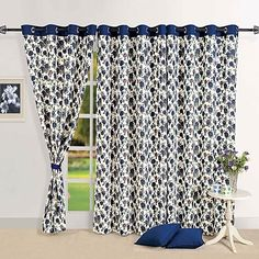 Give a royal touch to your home by embellishing home with a vintage décor. The floral print of lapis lazuli #rose on the classy white #curtains will render a regal persona to your home and will help you have all the privacy that you need.