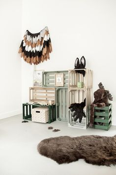 A great kids room full of forest and nature charm