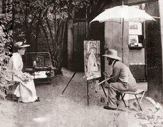* Henri de Toulouse-Lautrec pintando Retrato de Berta, em Père Foret, em Montmartre. Paris. c. 1889. *