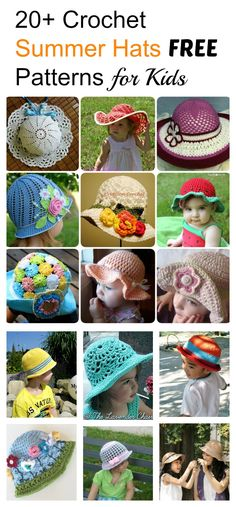 20+ Crochet Summer Hats Free Patterns for Kids Kids Crochet Hats Free  Pattern 0bd638a02d02