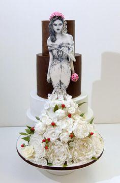 Wedding cake with hand painted bride by SWEET architect - http://cakesdecor.com/cakes/217891-wedding-cake-with-hand-painted-bride