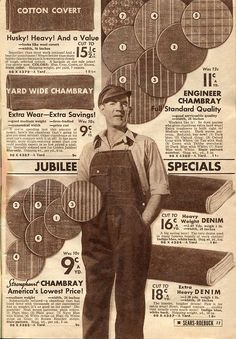 Chambray and workwear fabrics  Sears 1936
