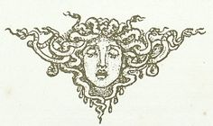 Vignette-like drawing of Medusa's head.