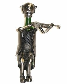 Whimsical Violinist Metal Wine Bottle Holder