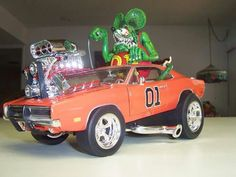 Rat fink general lee Funny Car Drag Racing, Funny Cars, Auto Racing, Plastic Model Kits, Plastic Models, Rat Rod Cars, Rat Rods, Cartoon Rat, General Lee