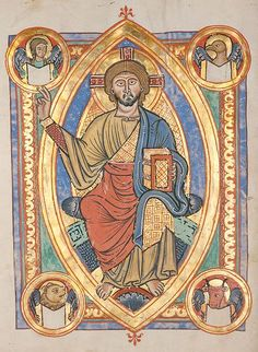 """Alternative Thinking 37 Manuscript in the Badische Landesbibliothek, Karlsruhe, Germany Shows Christ in vesica shape surrounded by the """"animal"""" symbols of the four evangelists. circa 1220"""