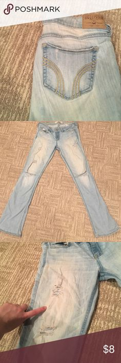 STRAIGHTLEG DISTRESSED HOLLISTER DEMIN Light HOLLISTER jeans with distressed detail cream-colored fade on front small makeup stain on front thigh as down in photo smoke free home say shipping! Hollister Jeans Straight Leg