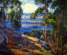 """""""Eucalyptus Trees and Bay"""", William Wendt, 1930, Oil on Canvas"""