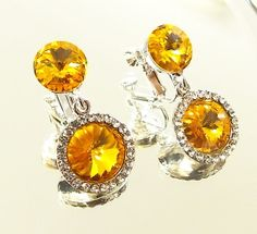 Sunflower Yellow Clip On Earrings with Swarovski Crystal Rivoli - Clipon Prom Jewelry - Colorful Statement Earrings