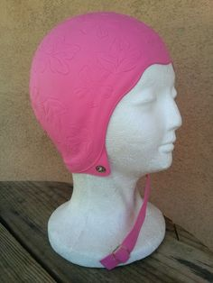 Vintage 1960s Swim Cap Pink Bathing Cap Medium - Large 2016241 - pinned by pin4etsy.com