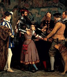 The Ransom: 1860-62 - Standing on the right, a kidnapper firmly grasps the arm of a young girl while an armored knight tries to hand over precious jewels. In this theatrical painting, John Everett Millais depicted a sixteenth-century scene of a father paying ransom for his two daughters.