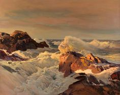 Sunset Rocks (Frederick Judd Waugh - )Oil on board x Landscape Art, Landscape Paintings, Bateau Pirate, Art Watercolor, Sea Waves, Seascape Paintings, Ocean Art, American Artists, Les Oeuvres