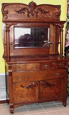 antique oak sideboard buffet with mirror - Google Search