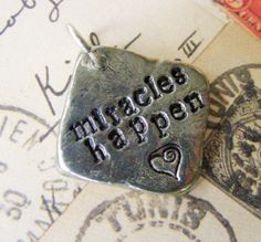 Rustic Pewter Hand Stamped Pendant  Miracles by meiguidesigns