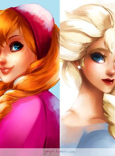 "Fan Art Anna & Elsa from the new Disney movie ""Frozen"""