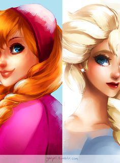 """Fan Art Anna & Elsa from the new Disney movie """"Frozen"""""""