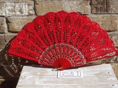 Feel free to contact me with any questions. Can be made in many different colors ( see last picture).    ONE OF A KIND!    ☂ ☂ ☂ Crochet fan in