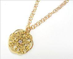 Celtic Rose w/diamond, gold, by Quaglia