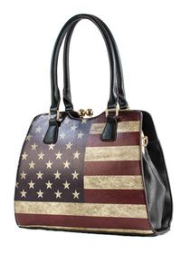 US Flag Top Handle Twist Lock Satchel Bag