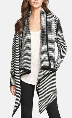 black and white striped wool and cashmere open cardigan
