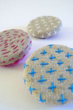 kantha and sashiko style brooches hand embroidered by edward & lilly