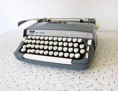 slate blue smith corona typewriter / 1960s by RustBeltThreads, $80.00