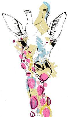 Ce poster est une belle source pour un projet Zendoodle à touche exotique: reproduisez cette giraffe sur un fond abstrait. For the master closet. This piece will serve as the color pallet.with other giraffe accents Giraffe Colors, Giraffe Art, Giraffe Head, Giraffe Decor, Art And Illustration, Giraffe Illustration, Art Plastique, Painting Inspiration, Painting & Drawing