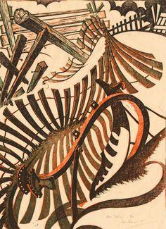 Anno Domini, 1970 Linocut by Sybil Andrews English Artists, Canadian Artists, Sybil Andrews, Linocut Prints, Art Prints, Steampunk, Linoprint, Wood Engraving, Gravure