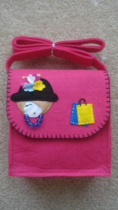 pink felt messenger bag