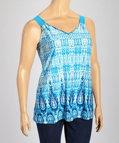 Another great find on #zulily! Blue & White Ikat Bow Tank - Plus by Wrapper #zulilyfinds