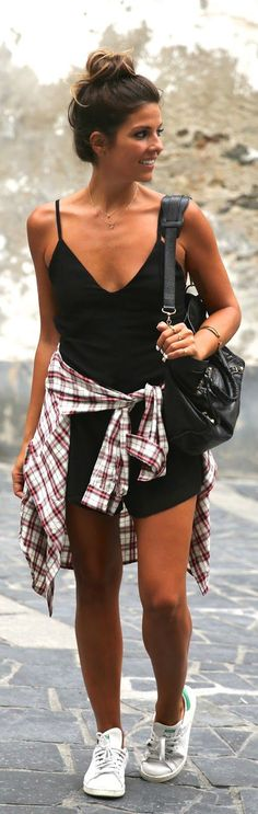 Chic Black Playsuit with round the waist Plaid and White Sneakers | Classic Stret Outfits