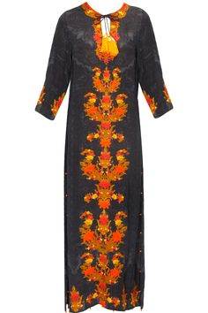 Black shawl print embroidered long dress available only at Pernia's Pop Up Shop..#perniaspopupshop #shopnow #happyshopping #designer #newcollection #winterfestive #clothing #hemantandnandita