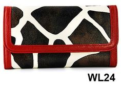 Red Giraffe Print Clutch Wallet with Checkbook Holder in Choice of Trim Colors