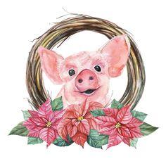 Framed Wallpaper, Damask Wallpaper, Trendy Wallpaper, Pig Wallpaper, Cute Piglets, Pig Crafts, Vintage Christmas Images, Cute Clipart, Wallpaper Iphone Disney