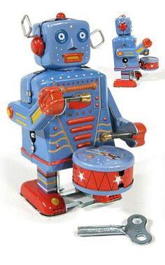 Space Drummer Robot Mini Tin Toy