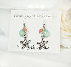 Starfish bridesmaid Earrings aqua peach by ArtemisBridalJewelry