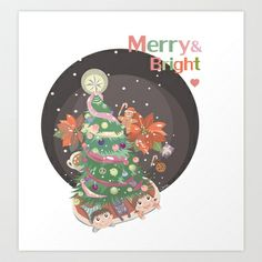 Merry and Bright Art Print by Christine Chang  - $15.60