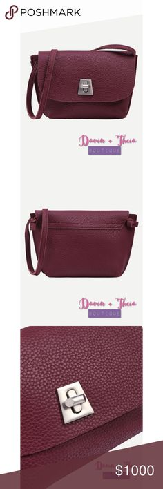 "🌟Burgundy Pebbled Faux Leather Crossbody Bag🌟 Casual pebbled faux leather turnlock flap bag in burgundy.  Measurement: Length - 22cm Width - 5cm Height - 14cm Strap Length - 110cm  💟Submit your offer thru the ""Offer"" button 💟NO Price discussion in the comment 💟NO Lowballing 💟NO Trades Bags Crossbody Bags"