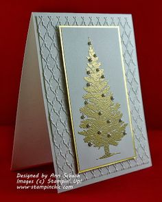 Stampin' Up! ...handmade Christmas card from The Stampin' Schach ... white and metallic gold ... elegant look ... pearls on gold embossed trree .. wide mat with embossing folder texture ... great card!