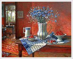 Margaret Olley (Australian, 1923 - 2011) «Still life with cornflowers»