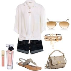 I love the combo of marc jacobs bag, white button front, cord and gold bracelets and sandals