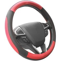 SEG Direct Black and Red Microfiber Leather Auto Car Steering Wheel Cover Universal 15 inch - SEG Direct steering wheel covers fit middle size steering wheels with outer diameter of Suitable for: Audi, BMW(except Mini), Buick(except old Regal), C Car Steering Wheel Cover, Steering Wheels, Cool Car Accessories, Accessories Online, Black And Grey, Ebay, Beige, Leather, Mercedes Benz