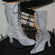 Victorian High Heels Boots in Light Grey warn looking leather  VictorianBoots on Etsy - Shop Reviews
